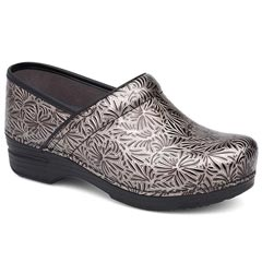 Dansko Pro X P Patent Leather Silver Clogs