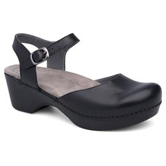Dansko Sam Soft Full Grain Leather Black Sandals