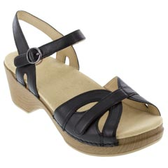 Dansko Season Full Grain Leather Black Sandals