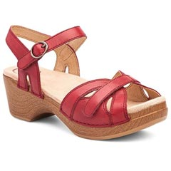 Dansko Season Burnished Leather Red Sandals