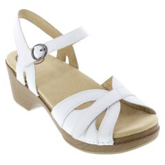 Dansko Season Leather White Sandals