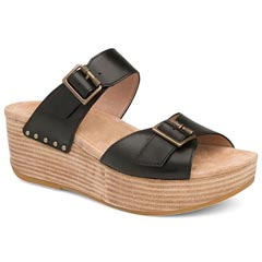 Dansko Selma Burnished Leather Black Sandals