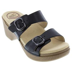 Dansko Sophie Full Grain Leather Black Sandals
