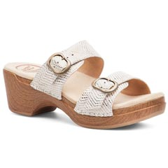 Dansko Sophie Metallic Leather White Sandals