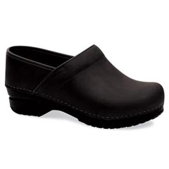Dansko Pro Xp Oiled Leather Wide Black Clogs