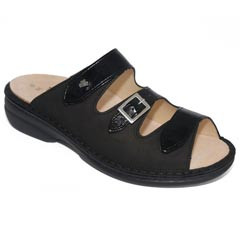Finn Comfort Anacapa Leather Soft Footbed Black Sandals