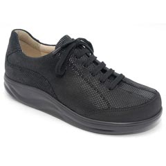 Finn Comfort Busan Leather Soft Footbed Black Points Shoes