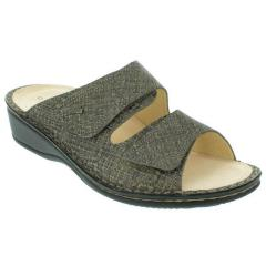Finn Comfort Jamaica Leather Soft Footbed Dark Grey Sandals