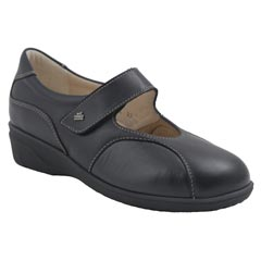 Finn Comfort Zwolle Leather Soft Footbed Black Shoes