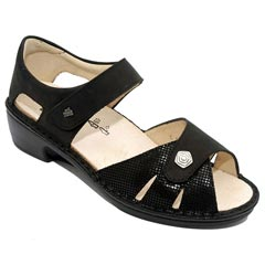 Finn Comfort Easton Leather Soft Footbed Black Sandals