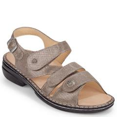 Finn Comfort Gomera Leather Soft Footbed Gold Sandals