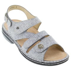 Finn Comfort Gomera Leather Soft Footbed Grey Sandals