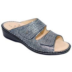 Finn Comfort Jamaica Leather Soft Footbed Argento Sandals