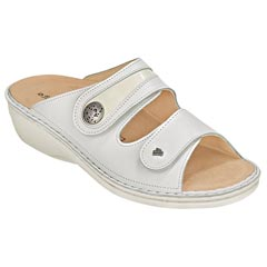 Finn Comfort Mira Leather Soft Footbed White Sandals