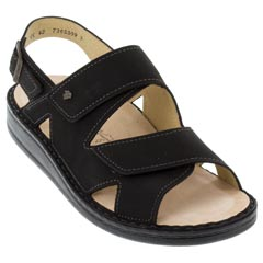 Finn Comfort Foro Leather Soft Footbed Black Sandals