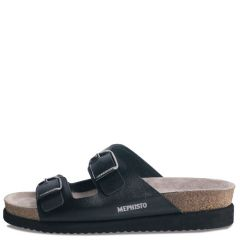 Mephisto Harmony Waxy Leather Black Sandals