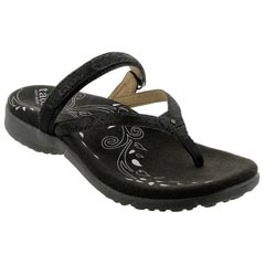 Taos Trip Leather Black Print Sandals