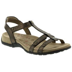 Taos Trophy Leather Bronze Reptile Sandals