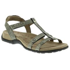 Taos Trophy Leather Light Gold Reptile Sandals