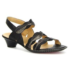 Think Soso Leather Black Sandals