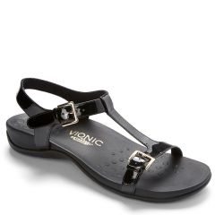 Vionic Adriane Leather Black Sandals