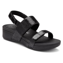 Vionic Bolinas Leather Black Sandals
