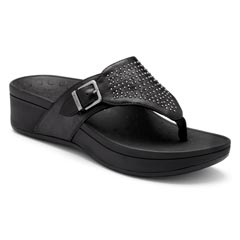 Vionic Capitola Leather Black Sandals