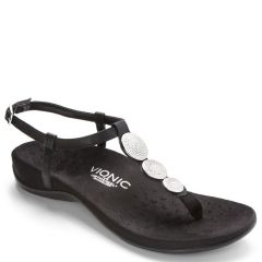 Vionic Lizbeth Leather Black Sandals