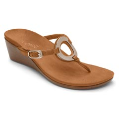 Vionic Orchid Leather Caramel Sandals