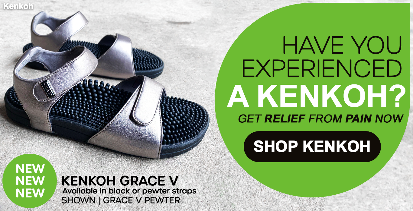Kenkoh massage sandals at Happy Feet Plus Foot Pain Relief