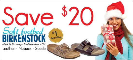 Save $20 on all Birknestock Soft Footbed shoes, sandals and clogs