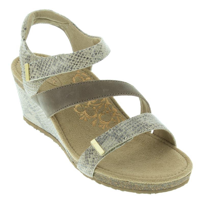 fbffc6ba53 Womens Aetrex Brynn Stone Leather High Heel - Happyfeet.Com