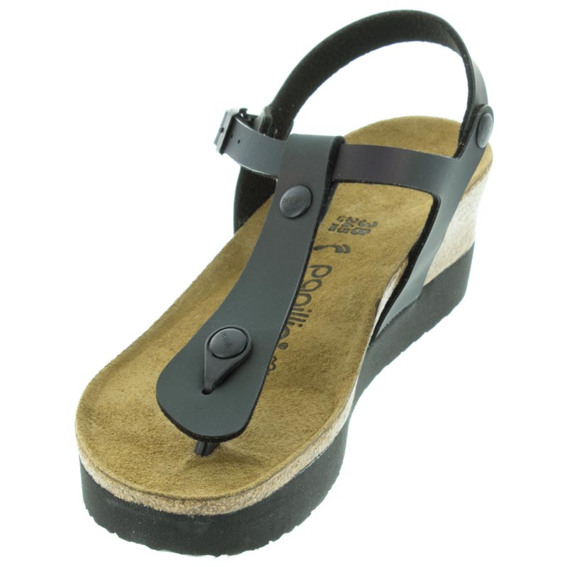 Birkenstock Ashley Iridescent Black Birko-Flor left front view