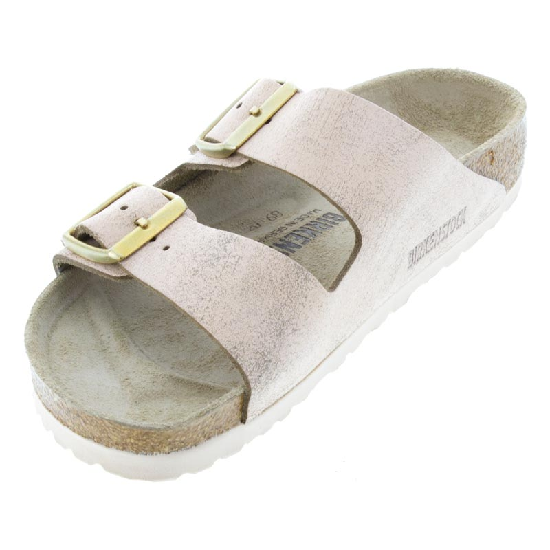 Birkenstock Arizona Washed Metallic Rose Leather left front view