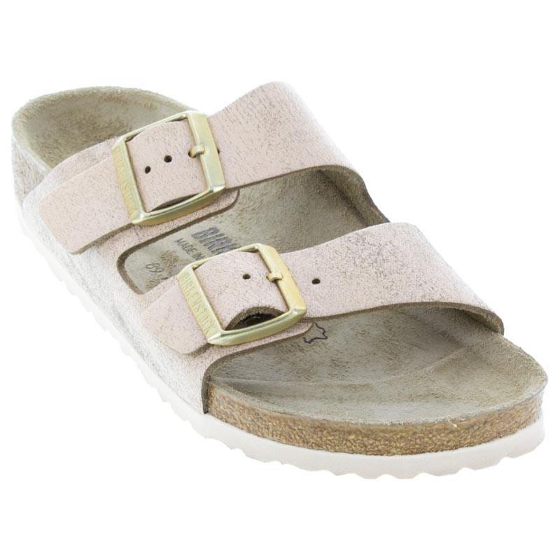 b9f9f01c4585f Womens Birkenstock Arizona Washed Metallic Rose Leather - Happyfeet.Com