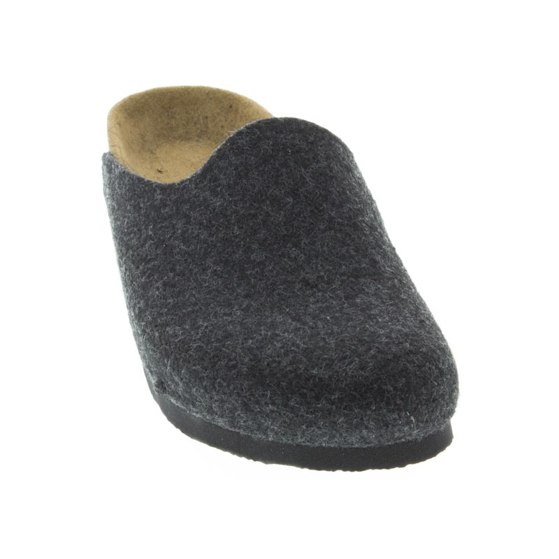 Birkenstock Amsterdam Anthracite Wool front view