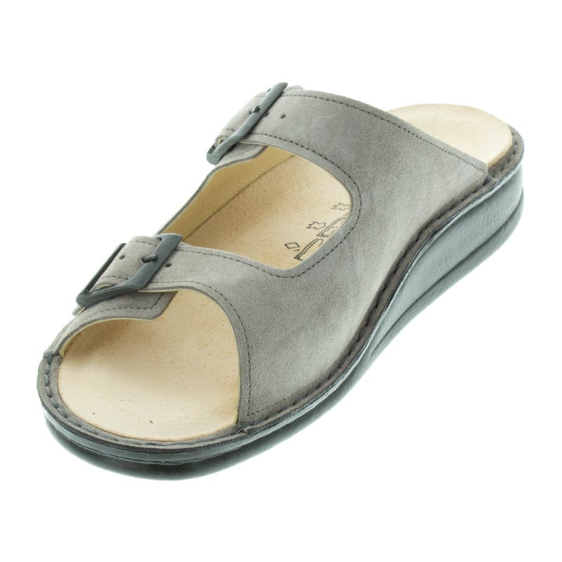 Finn Comfort Hollister Ginger Velour Leather Soft Footbed left front view