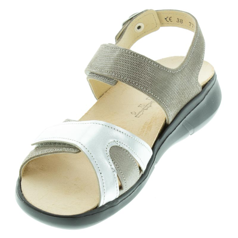 Finn Comfort Nadi Fango/Silver Leather left front view