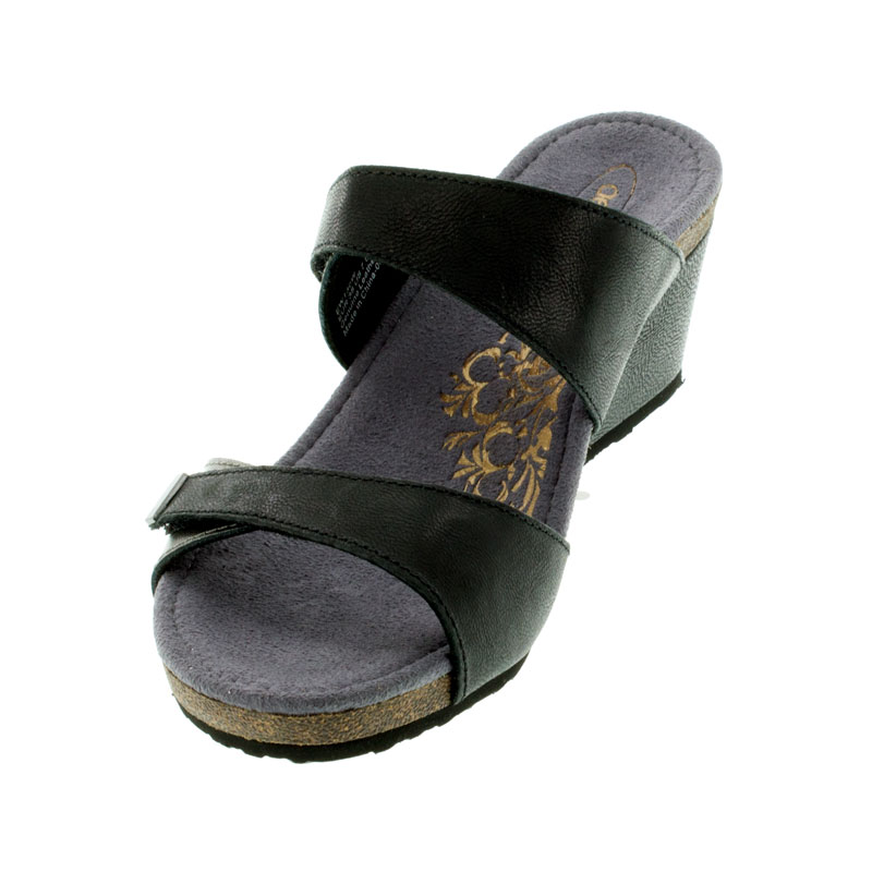 Aetrex Chantel Black Leather High Heel Sandals left front view