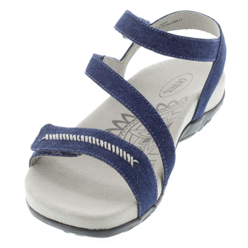 Aetrex Gabby Denim Synthetic Vegan Sandal left front view