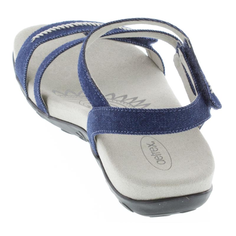Aetrex Gabby Denim Synthetic Vegan Sandal back view