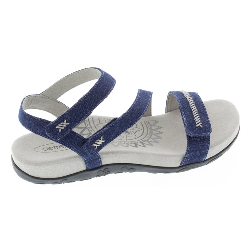 Aetrex Gabby Denim Synthetic Vegan Sandal right side view