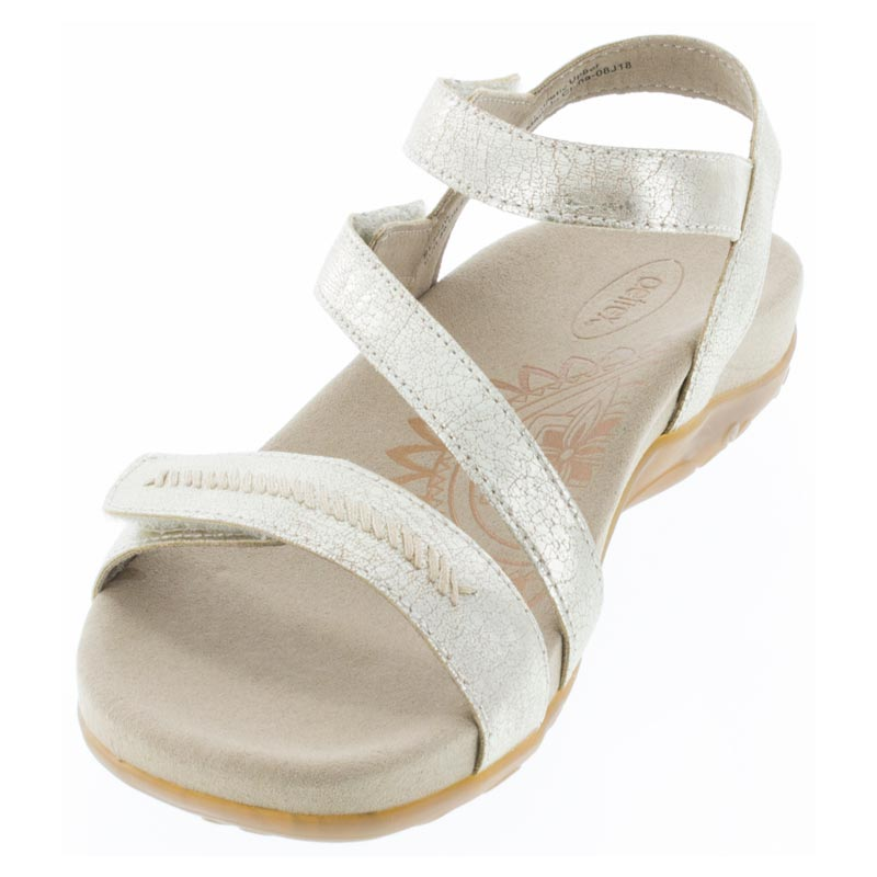 Aetrex Gabby Gold Synthetic Vegan sandals left front view