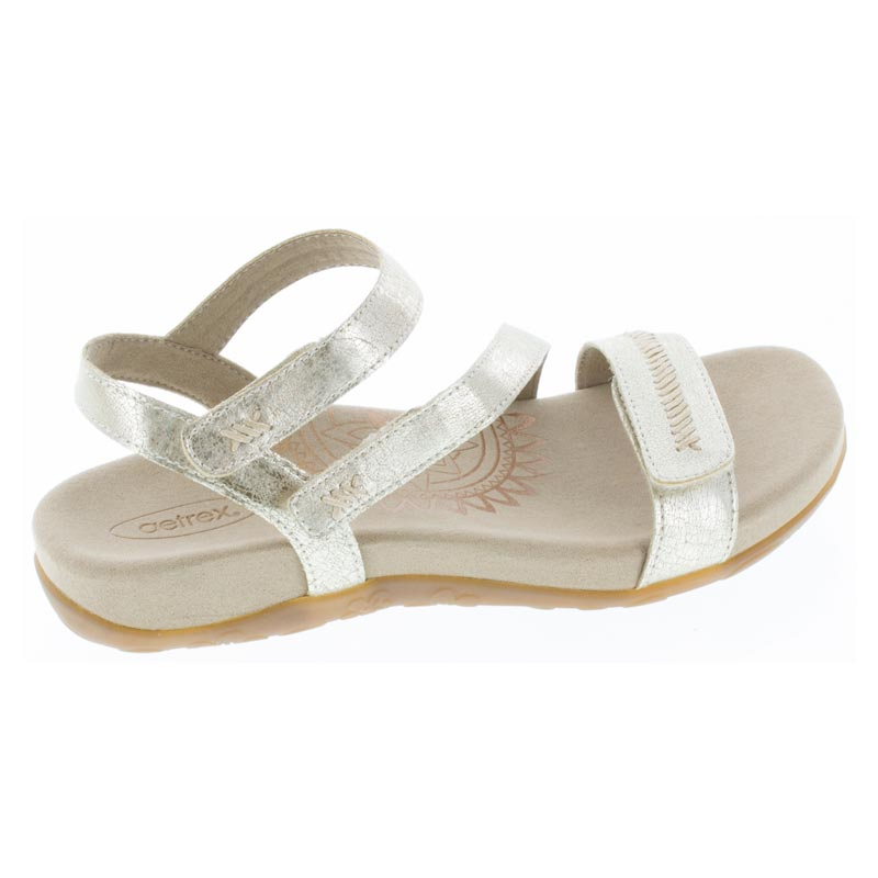 Aetrex Gabby Gold Synthetic Vegan sandals right side view