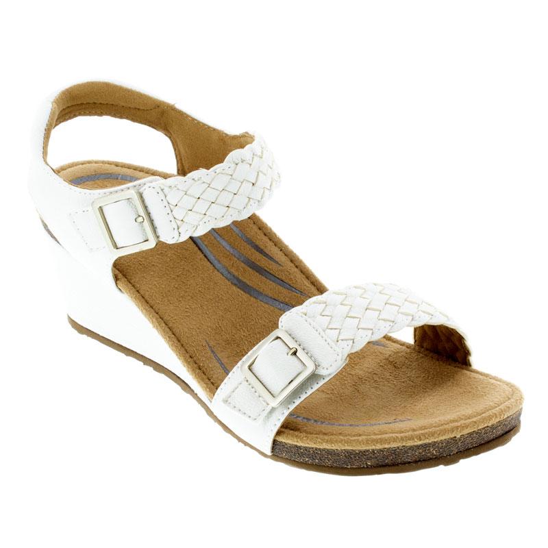 Aetrex Grace White Leather High Heel 38