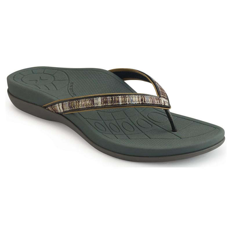 Aetrex Gwen Pewter Sandals