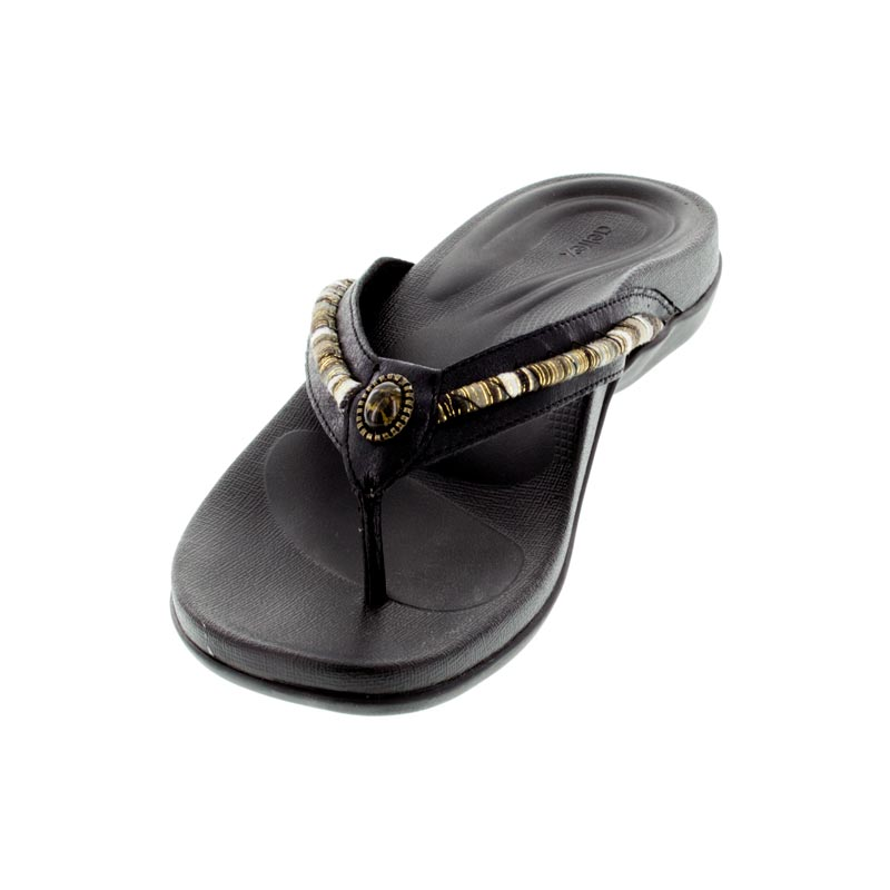 Aetrex Hazel Black Synthetic Vegan sandals left front view
