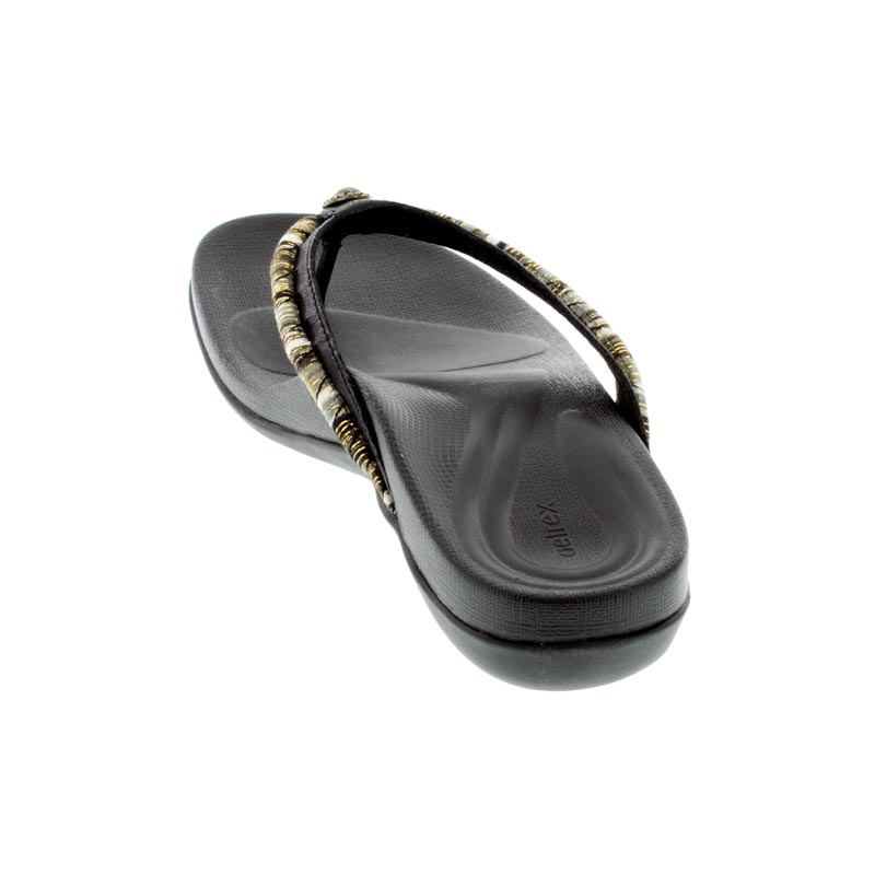 Aetrex Hazel Black Synthetic Vegan sandals back view