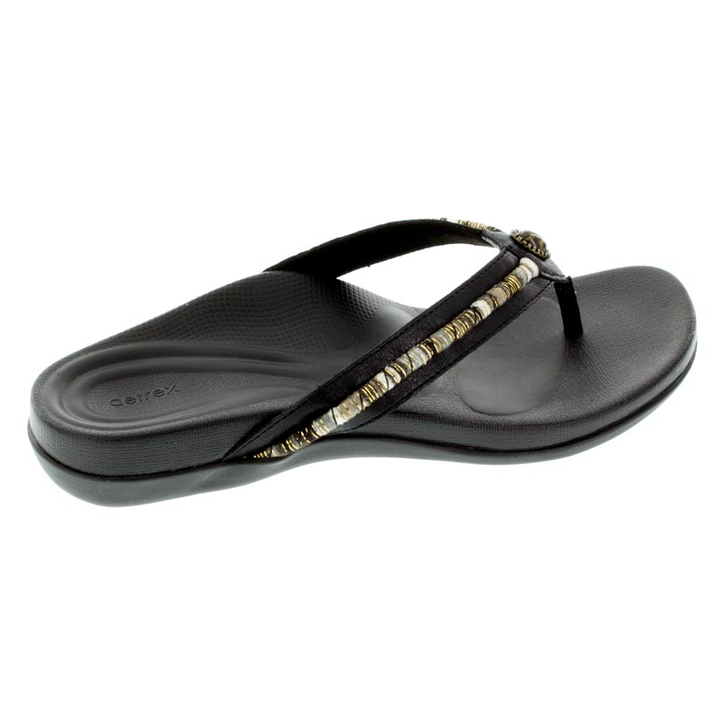 Aetrex Hazel Black Synthetic Vegan sandals right side view