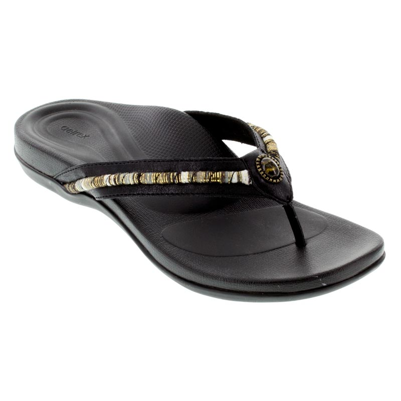 Aetrex Hazel Black Sandals
